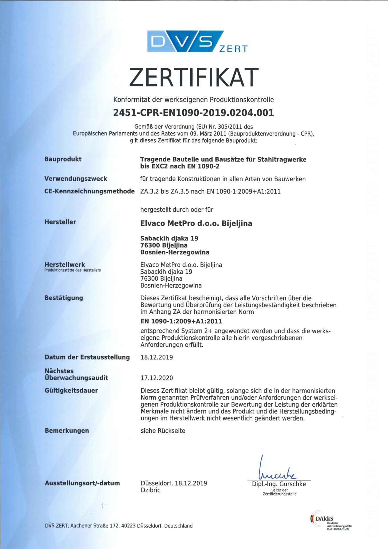 Elvaco MetPro zertifikat EN 1090-2