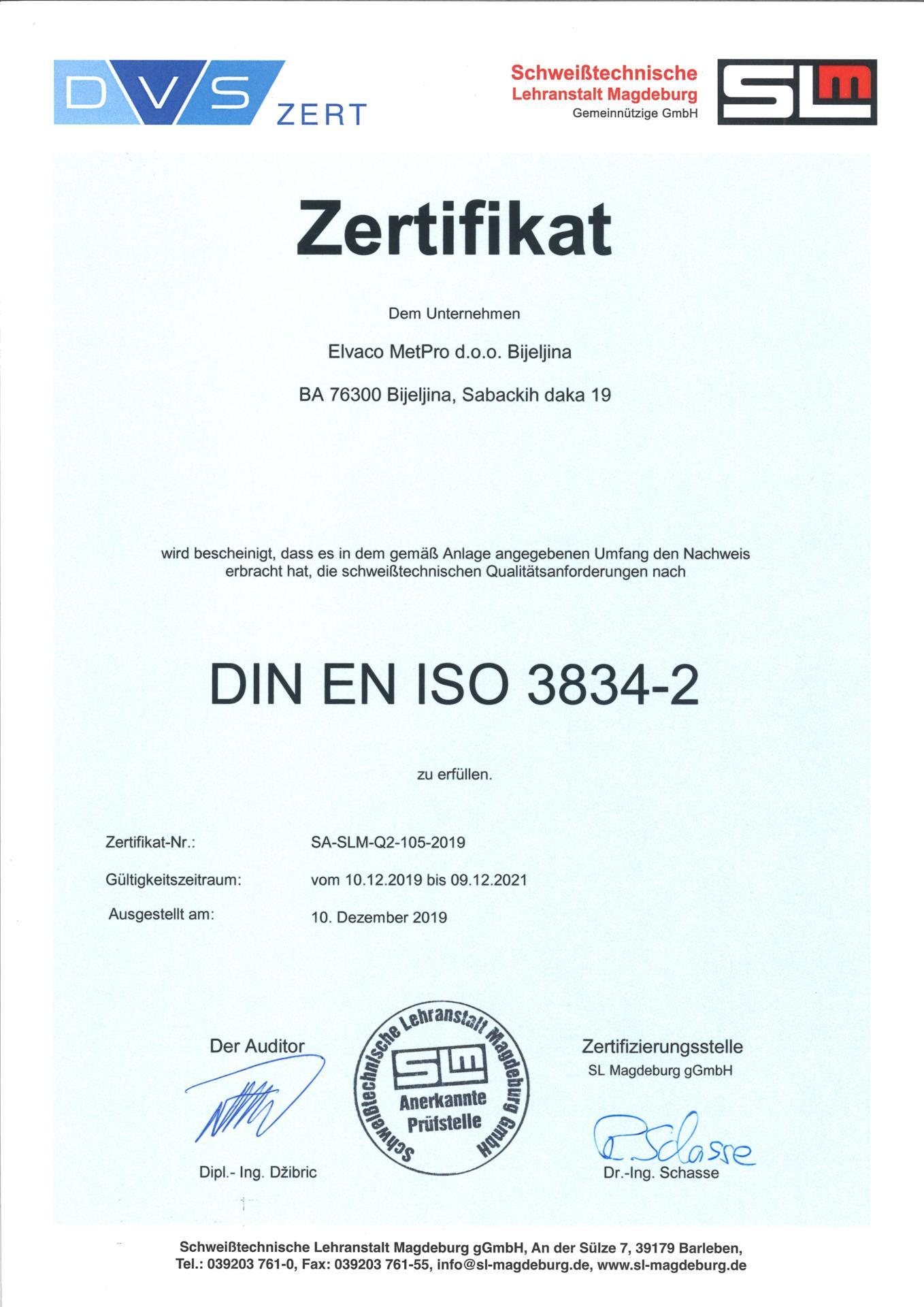 Elvaco MetPro zertifikat DIN EN ISO 3834-2