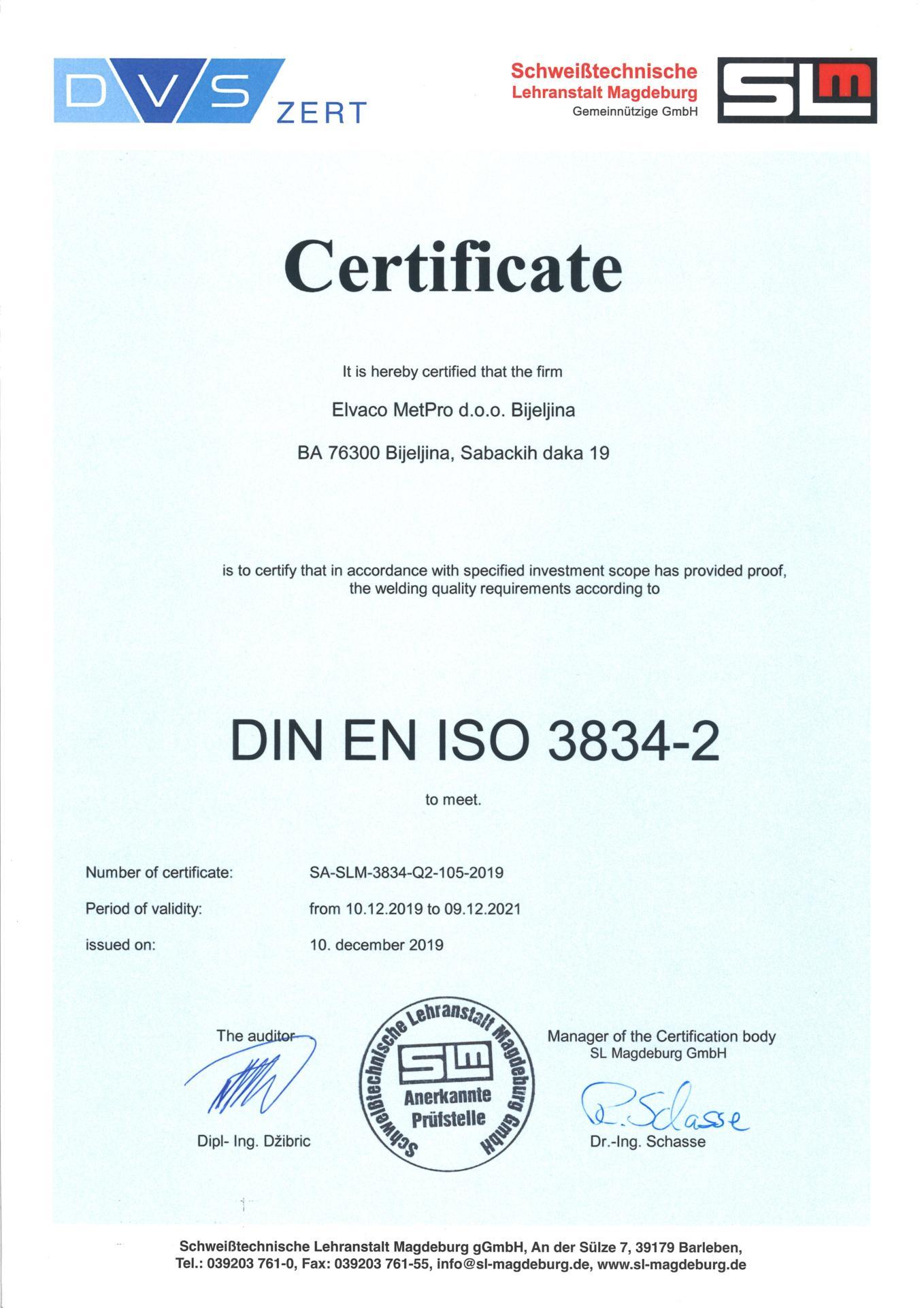 Elvaco MetPro certificate DIN EN ISO 3834-2