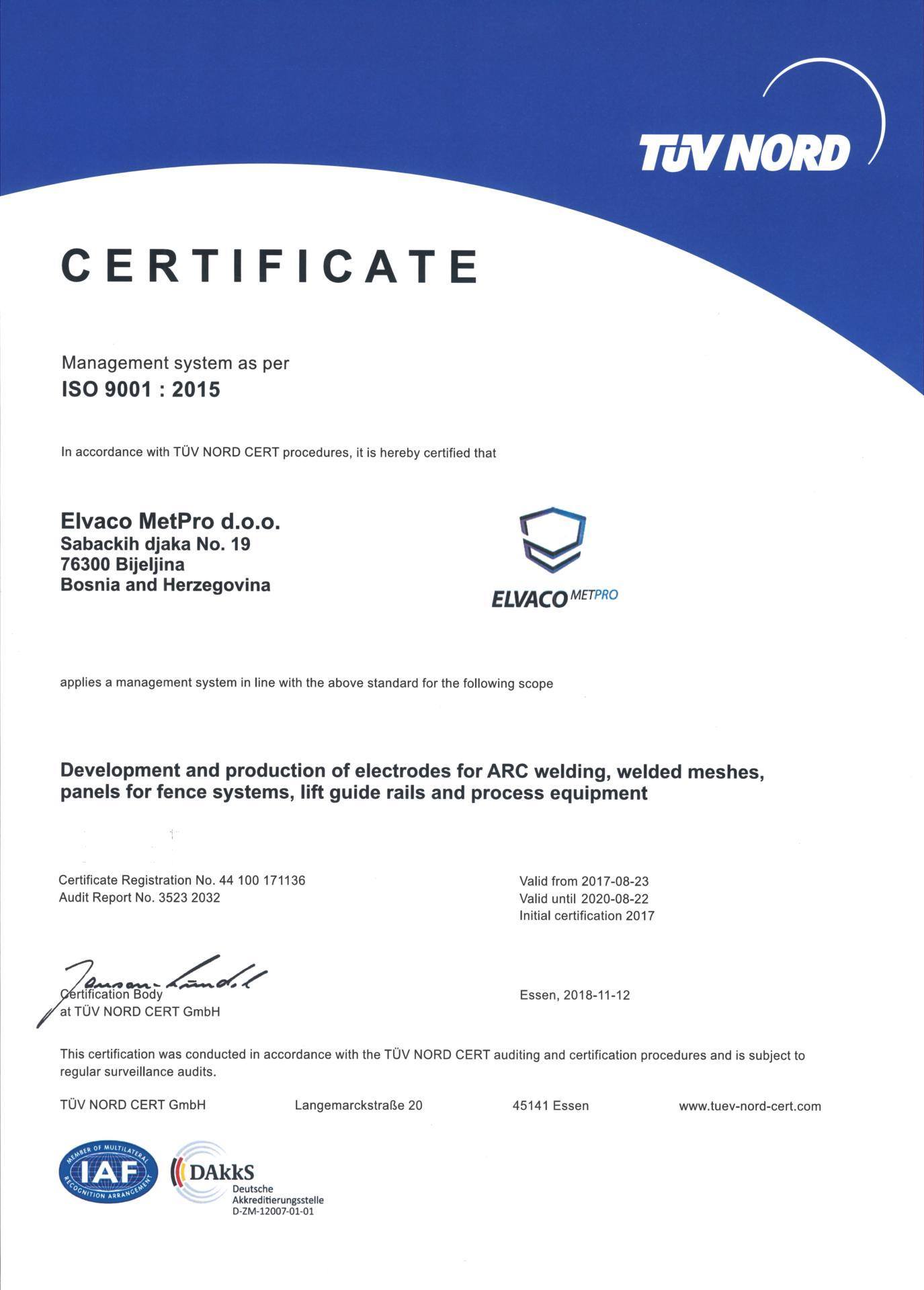 Elvaco MetPro certificate ISO 9001: 2015
