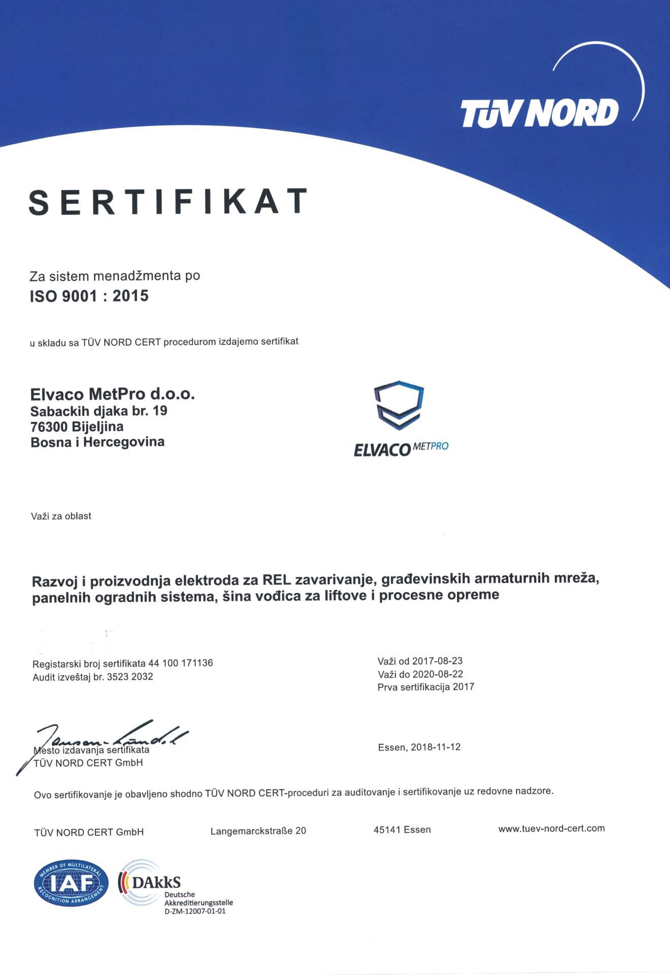 Elvaco MetPro sertifikat ISO 9001: 2015